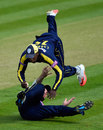 Michael Carberry held on to a catch despite colliding with Joe Gatting, Glamorgan v Hampshire, Royal London Cup, Group B, Cardiff, August 2, 2015