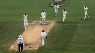 Stuart Clark appeals for the wicket of Kumar Sangakkara