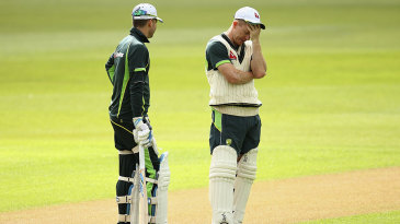Michael Clarke and Chris Rogers at training