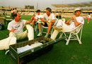 South African captain Clive Rice sits with Richard Snell, Allan Donald and David Richardson, Calcutta, November 9, 1991