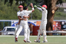 Junaid Siddiqui celebrating Craig Williams wicket, Namibia v Canada at Windhoek, Apr 5-8, 2012
