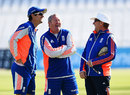 Good joke? Alastair Cook, Paul Farbrace and Trevor Bayliss share a laugh, Trent Bridge, August 5, 2015