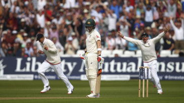 Steven Smith was the second victim of Stuart Broad's opening over of the Test