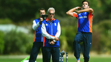 Peter Moores watches Steven Finn bowl
