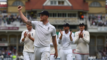 Ben Stokes salutes the crowd after bowling England to the brink of Ashes victory