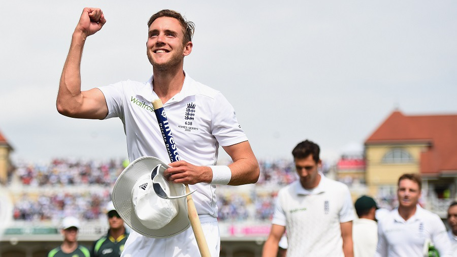 Stuart Broad is delighted after the win