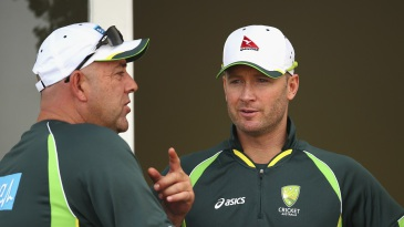 Darren Lehmann and Michael Clarke have a chat
