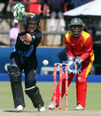 George Worker drives through the off side, Zimbabwe v New Zealand, only T20I, Harare, August 9, 2015