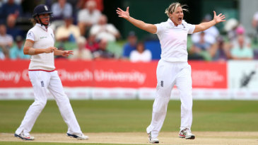 Katherine Brunt appeals unsuccessfully for a wicket