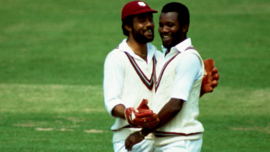 Jeff Dujon and Malcolm Marshall celebrate a wicket during the 1983 World Cup