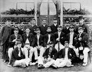 The Australian team in England, 1893. Back row (left to right): Carpenter (umpire), V Cohen (manager), Affie Jarvis, Walter Giffen, William Bruce, Alec Bannerman and umpire Thoms. Middle row: Harry Trott, Hugh Trumble, George Giffen, Jack Blackham (captain), JJ Lyons, Bob McLeod and Charlie Turner. Front row: Harry Graham, Arthur Coningham and Syd Gregory