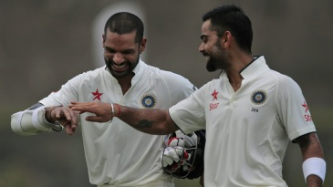Shikhar Dhawan and Virat Kohli share a lighter moment
