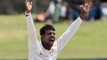 Tharindu Kaushal appeals successfully for an lbw against Virat Kohli