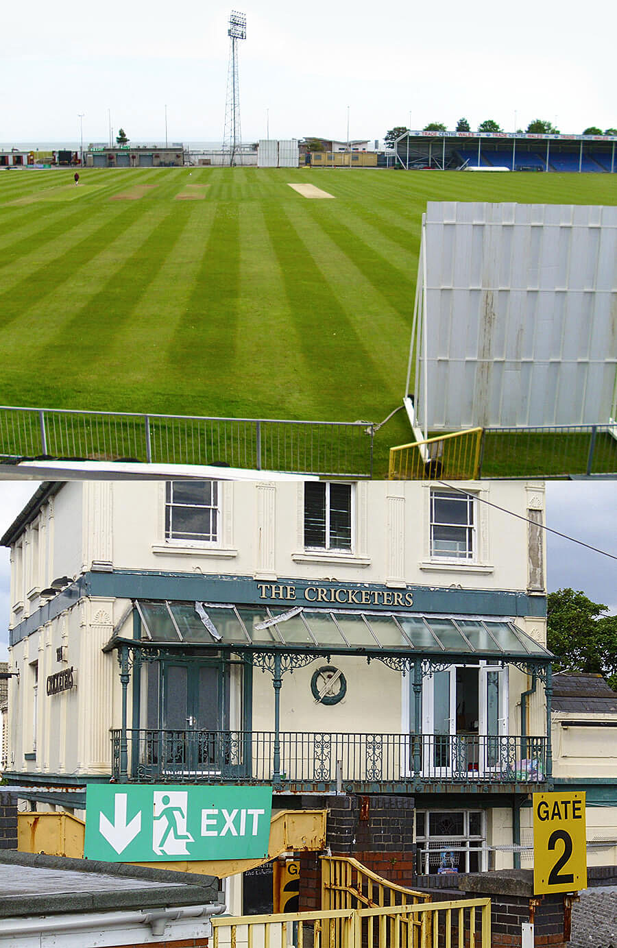Where history was made: present-day St Helen's (top), and the Cricketers pub, where one of the sixes landed