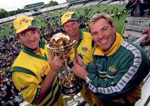 Australia's three Ws Mark Waugh, Steve Waugh and Shane Warne show off Australia's latest trophy, The World Cup. June 20, 1999.