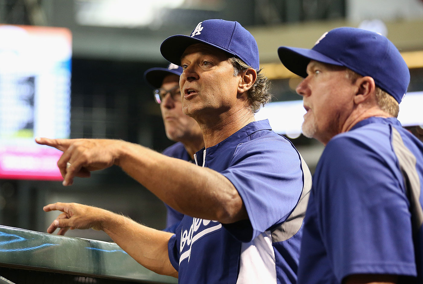 LA Dodgers manager Don Mattingly runs the show from the dugout, involving himself before nearly every pitch