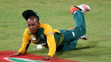 Aaron Phangiso takes a tumble