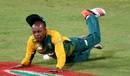 Aaron Phangiso takes a tumble, South Africa v New Zealand, 1st T20I, Durban, August 14, 2015