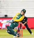 Morne van Wyk was peppered with a few short ones from Adam Milne, South Africa v New Zealand, 1st T20I, Durban, August 14, 2015