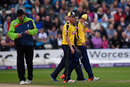 Chris Wood took a blow to the face with the light fading, Worcestershire v Hampshire, NatWest T20 Blast quarter-final, New Road, August 14, 2015