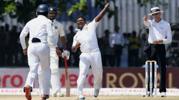 Rangana Herath exults after trapping Ishant Sharma lbw