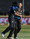 Nathan McCullum is congratulated by Ish Sodhi for dismissing AB de Villiers, South Africa v New Zealand, 2nd T20I, Centurion, August 16, 2015
