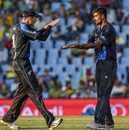 Ish Sodhi is congratulated by Martin Guptill after he dismissed David Wiese, South Africa v New Zealand, 2nd T20I, Centurion, August 16, 2015