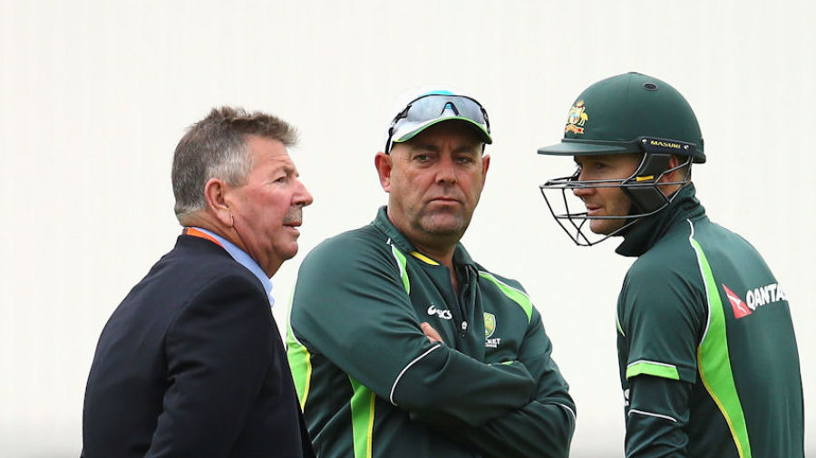Michael Clarke chats ahead of his final Test to chairman of selectors Rod Marsh (left) and coach Darren Lehmann