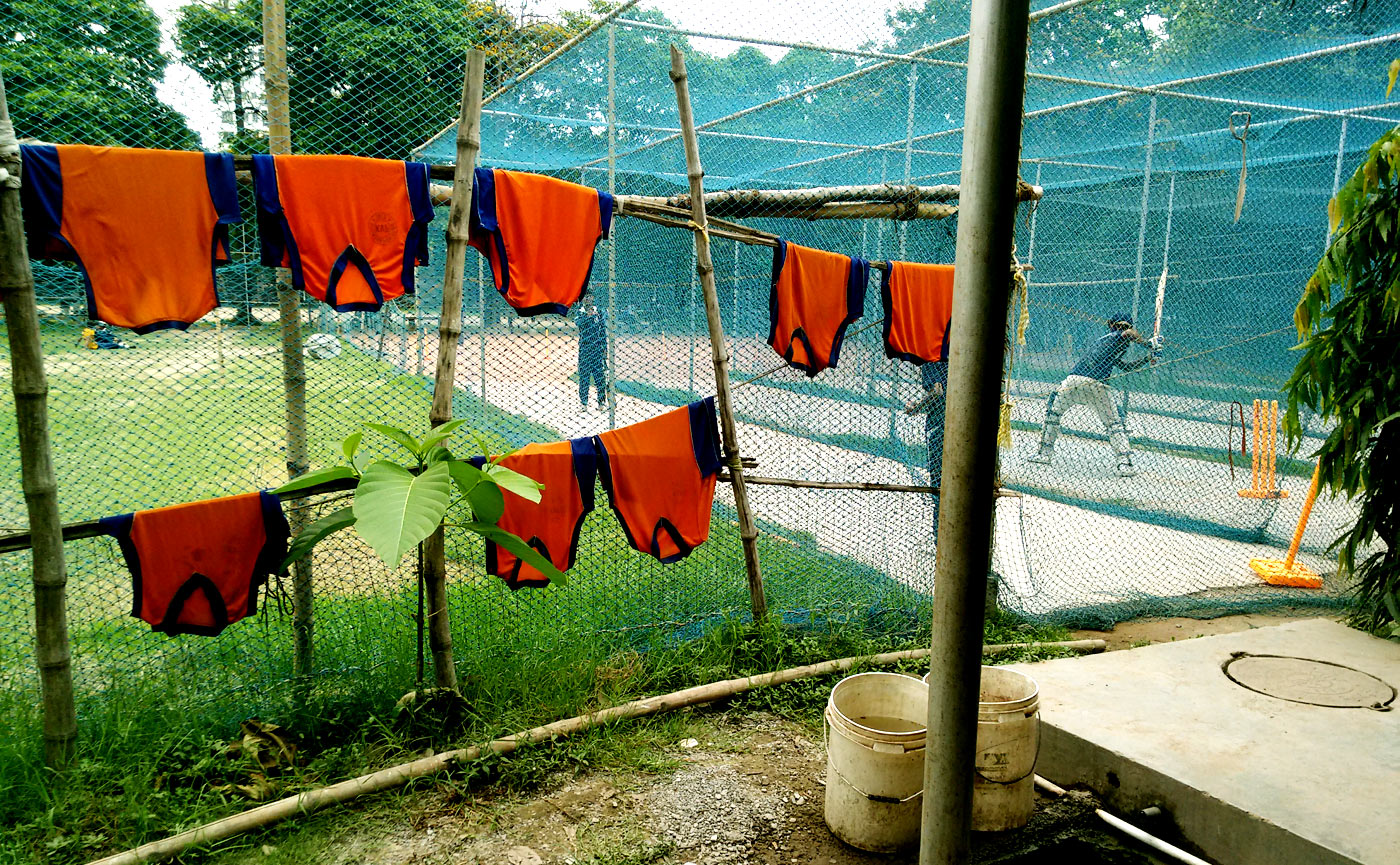 The nets at Bulan Academy, where Ankit trained hard to play long innings and work on his stroke development