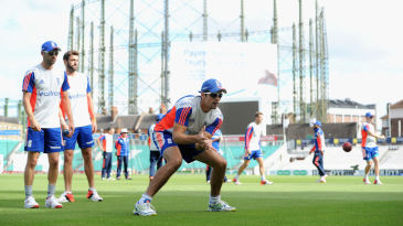 Alastair Cook fields ahead of the final Investec Test at The Oval