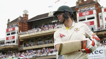 Steven Smith walks out at the start of the second day
