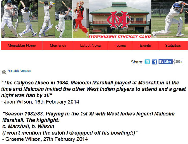 Moorabbin members and family remember Malcolm Marshall's time at the club as part of its 90th year celebrations, on its website