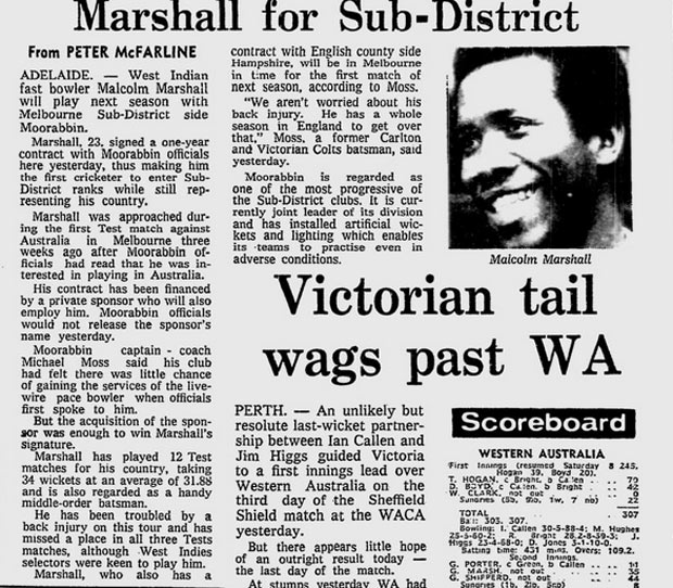 Moorabbin's Marshall signing makes it to page 30 of the <i>Age</i>'s February 1, 1982 edition