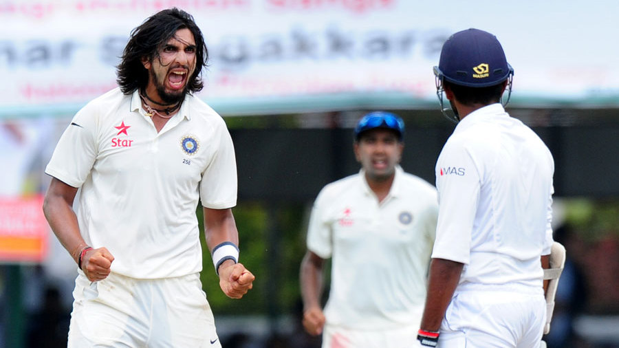 Ishant Sharma exults after taking the wicket of Lahiru Thirimanne