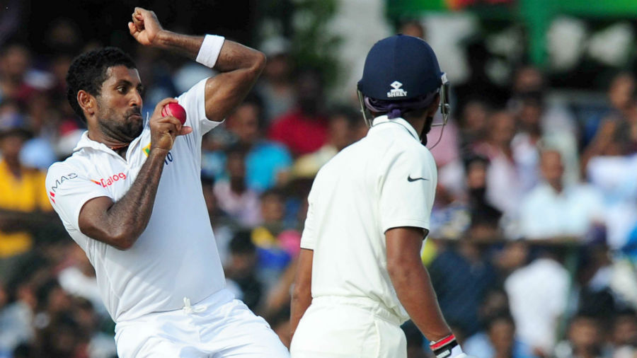 Dhammika Prasad picked up 4 for 43 in India's second innings