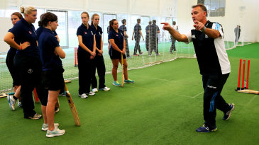 Graham Thorpe talks to Young Coaches of the Year during the ECB Young Coach of the Year Awards at the National Cricket Performance Centre  in Loughborough