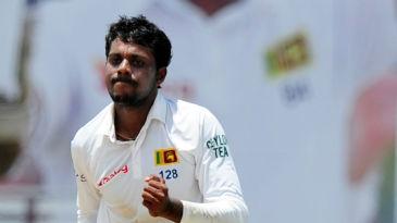 Tharindu Kaushal celebrates the wicket of Virat  Kohli