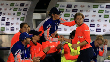 England captain Charlotte Edwards congratulates Sarah Taylor on a matchwinning fifty in an Ashes T20I at Chelmsford
