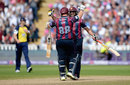 Northamptonshire's Richard Levi and Shahid Afridi celebrate seeing their side home, Northamptonshire v Birmingham, NatWest T20 Blast, Semi-final, Edgbaston, August 29, 2015