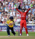 Lancashire keeper Jos Buttler successfully appeals for the wicket of Sean Ervine, Hampshire v Lancashire, NatWest T20 Blast, Semi-final, Edgbaston, August 29, 2015