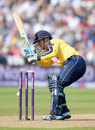 Hampshire's Will Smith plays on in unfortunate fashion, Hampshire v Lancashire, NatWest T20 Blast, Semi-final, Edgbaston, August 29, 2015