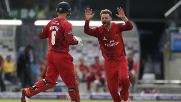 Jos Buttler and Arron Lilley celebrate one of the spinner's two scalps