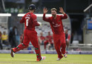 Jos Buttler and Arron Lilley celebrate one of the spinner's two scalps, Hampshire v Lancashire, NatWest T20 Blast, Semi-final, Edgbaston, August 29, 2015