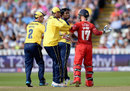 Hampshire players surround Alex Davies after he was caught off a Fidel Edwards no ball, Hampshire v Lancashire, NatWest T20 Blast, Semi-final, Edgbaston, August 29, 2015