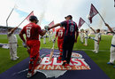 South Africans Ashwell Prince and Rory Kleinveldt bump fists as the Final begins, Northamptonshire v Lancashire, NatWest T20 Blast, Final, Edgbaston, August 29, 2015