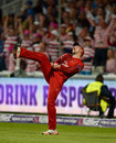 Liam Livingstone celebrates taking a catch in the deep to dismiss Shahid Afridi, Northamptonshire v Lancashire, NatWest T20 Blast, Final, Edgbaston, August 29, 2015