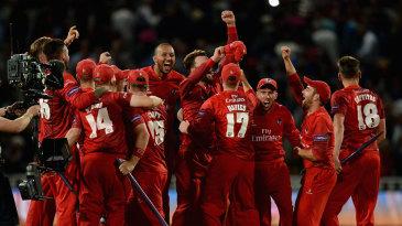 Lancashire players celebrate their T20 triumph