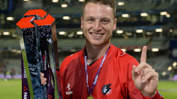 Jos Buttler celebrates finally winning on Finals Day