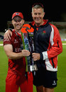 Steven Croft and Ashley Giles pose with the Blast trophy, Northamptonshire v Lancashire, NatWest T20 Blast final, Edgbaston, August 29, 2015