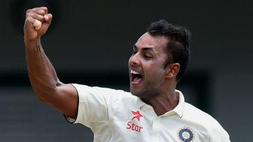 Stuart Binny exults after dismissing Dinesh Chandimal